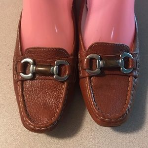 Geox Womens Brown Leather Loafers Shoes